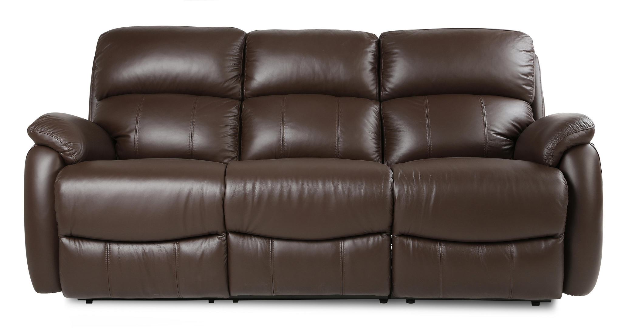 Dfs Navona Couch Brown Leather Settee 3 Seater Power