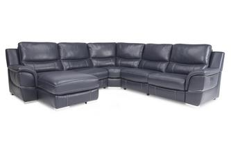 Left Hand Facing Power Chaise Corner Sofa New Club Contrast
