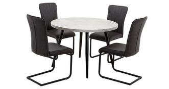Duplex Round Fixed Top Table and Set of 4 Chairs