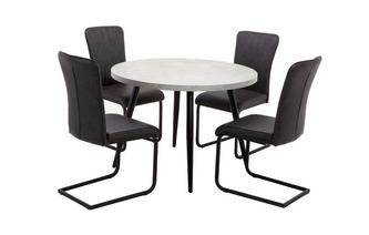Round Fixed Top Table and Set of 4 Chairs