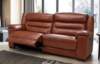 Elgar 3 Seater Manual Recliner Brazil with Leather Look Fabric