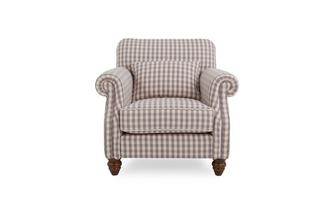 Check Accent Chair with Check Bolster Cushion
