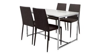 Elsa Dining Fixed Top Dining Table and 4 Zenn Chairs