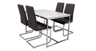 Elsa Dining Fixed Top Dining Table and 4 Vitra Chairs