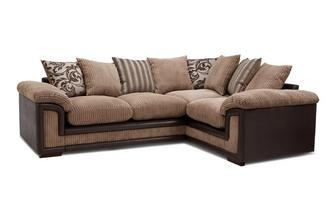 Left Hand Facing 2 Seater Pillow Back Corner Sofa