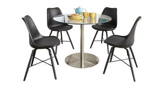 Fitz Round Fixed Top Table and 4 Ida Chairs