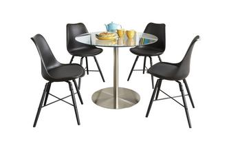 Round Fixed Top Table and 4 Ida Chairs Fitz