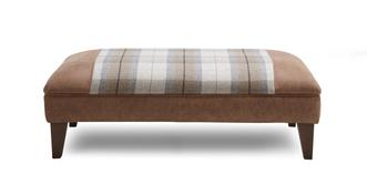 Hamish Check Top Large Footstool