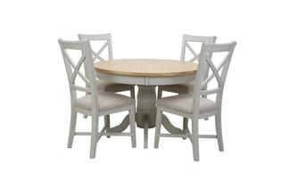 Round Extending Table & Set of 4 Dining Chairs Harbour