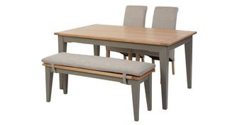 Helmsley Dining Fixed Top Table with 2 Upholstered Chairs & 1 Bench