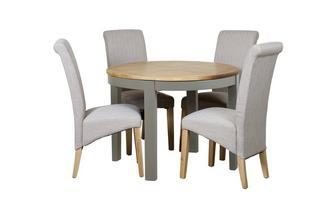 Round Extending Table & 4 Upholstered Chairs Helmsley