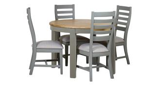 Helmsley Dining Round Extending Table & 4 Painted Chairs
