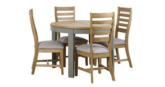 Helmsley Dining Round Extending Table & 4 Slat Wood Back Chairs