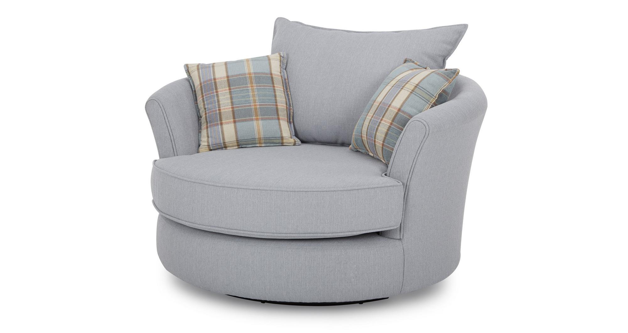 dfs jasper blue fabric swivel chair half moon footstool set ebay. Black Bedroom Furniture Sets. Home Design Ideas