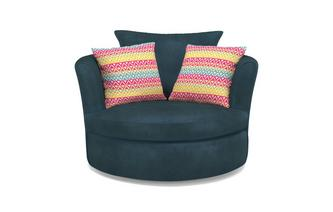Large Swivel Chair with 2 Pattern Scatter Cushions