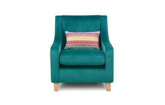 Velvet Accent Chair with Pattern Bolster Cushion