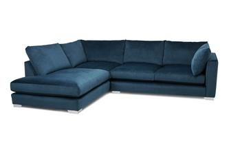 Velvet Right Hand Facing Arm Small Open End Corner Sofa