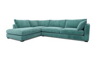 Velvet Right Hand Facing Arm Large Open End Corner Sofa