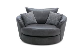 Leather Large Swivel Chair Keaton Leather