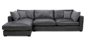 Keaton Leather Left Hand Facing Large Chaise End Sofa