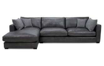 Leather Left Hand Facing Large Chaise End Sofa