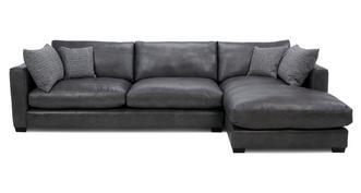 Keaton Leather Right Hand Facing Large Chaise End Sofa
