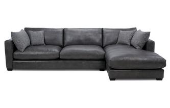 Leather Right Hand Facing Large Chaise End Sofa