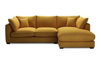 Velvet Right Hand Facing Small Chaise End Sofa