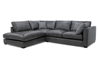 Leather Right Hand Facing Arm Small Open End Corner Sofa