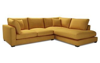 Velvet Left Hand Facing Arm Small Open End Corner Sofa