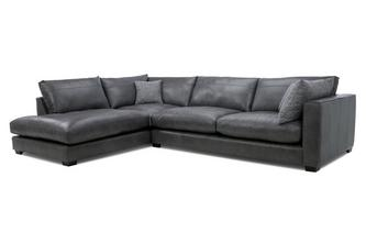 Leather Right Hand Facing Arm Large Open End Corner Sofa Keaton Leather