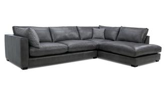Keaton Leather Left Hand Facing Arm Large Open End Corner Sofa