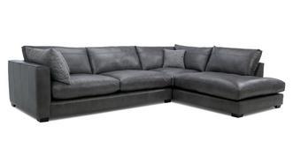 Keaton Leather Left Hand Facing Arm Large Open End Corner Sofa