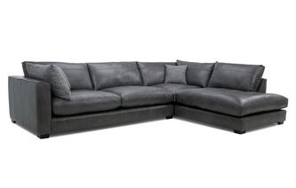 Leather Left Hand Facing Arm Large Open End Corner Sofa Keaton Leather