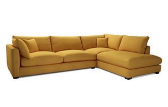 Velvet Left Hand Facing Arm Large Open End Corner Sofa