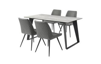 Medium Fixed Top Dining Table & 4 Cantilever Chairs