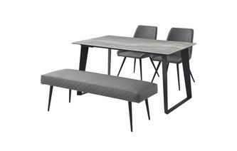 145cm Fixed Dining Table with 1 Bench & 2 Cantilever Chairs