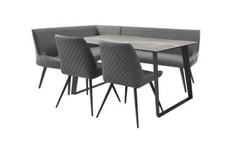 145cm Fixed Dining Table with 1 Left Hand Facing Corner Bench & 2 Cantilever Chairs
