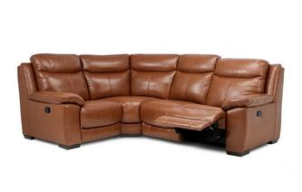 Option H Leather and Leather Look Right Hand Facing Manual Recliner Corner Sofa