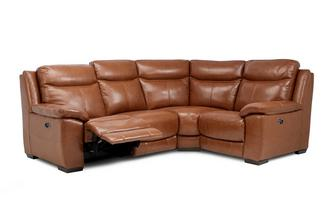 Option F Leather and Leather Look Left Hand Facing Power Recliner Corner Sofa