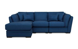Velvet Left Hand Facing Small Chaise Sofa