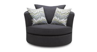 Ludo Large Swivel Chair with Pattern Scatters