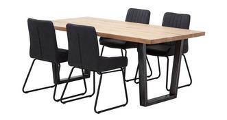 Mason Fixed Top Table & 4 Bucket Chairs