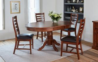 Merlot Round Extending Table & Set of 4 Ladderback Chairs Merlot
