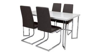Moda Dining Fixed Top Table and 4 Vitra Chairs