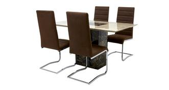 Moderno Dining Table & Set of 4 Cantilever Chairs