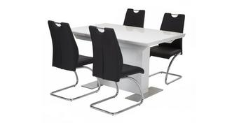 Monochrome Extending Dining Table & Set of 4 Chairs