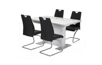 Extending Dining Table & Set of 4 Chairs Monochrome