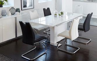 Monochrome Extending Dining Table u0026 Set of 4 Chairs Monochrome & Tables u0026 Chairs | DFS Spain