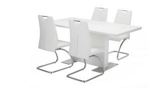 Monochrome Fixed Dining Table & Set of 4 Chairs